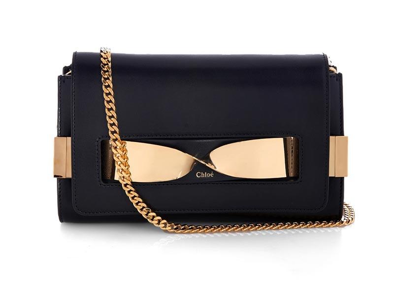 Pochette in pelle nera e oro Chloé Elle medium2015