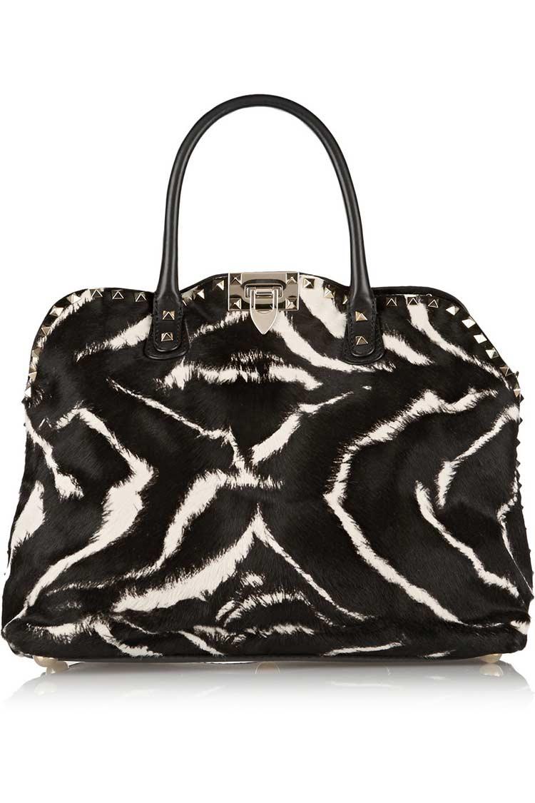 Borsa zebrata con borchie Valentino Studded zebra-print calf hair 2015