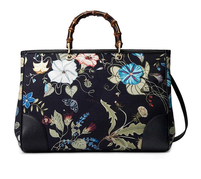 Borsa a mano floreale Gucci - Bamboo Floral 2014 Prezzo e dimensione ... 555197577564