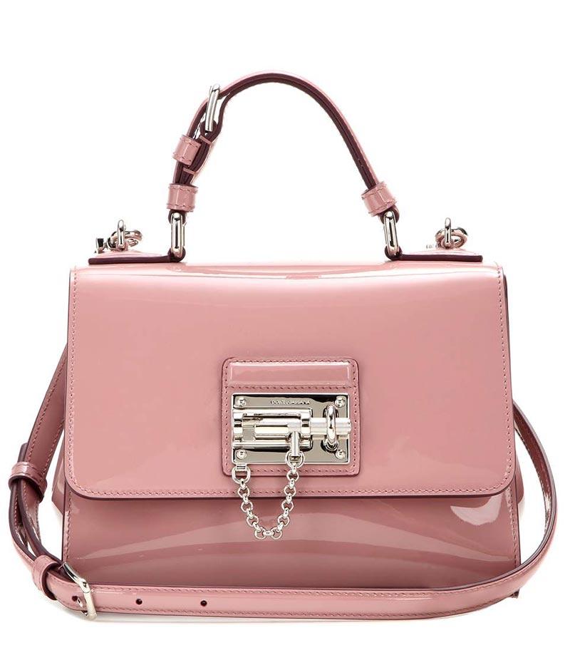 Borsa mano in vernice rosa Dolce & Gabbana Monica 2015