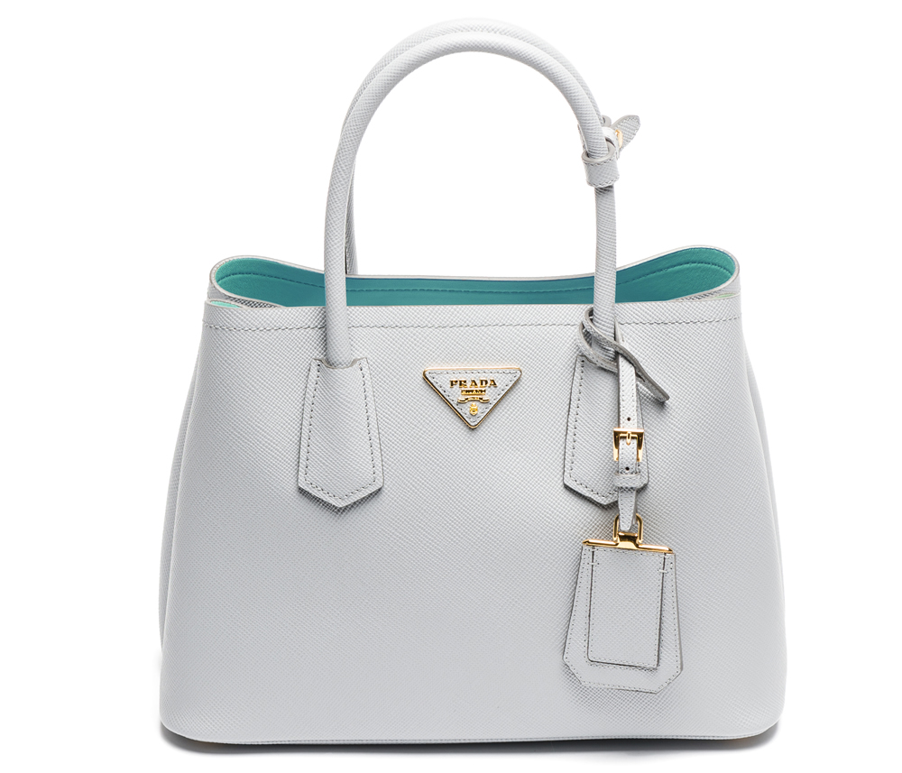 Borsa tote double bag in pelle saffiano colorata prada for Zalando borse prada