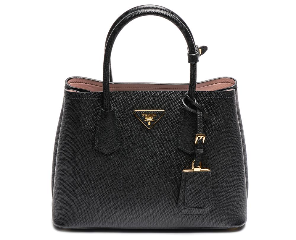 prada tote bags price - Borsa tote Double Bag in pelle saffiano colorata Prada - 2015 ...