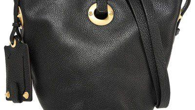 Borsa a secchiello in pelle nera stampata – Valentino – 2016